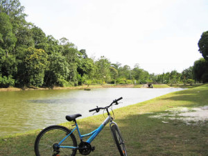 recreational cycling river path