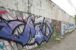 Street Art, Graffiti On Wall Along a Street